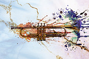 Trumpet Digital Art Posters - Jazz Trumpet Poster by David Ridley