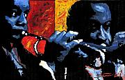 Musician Paintings - Jazz Trumpeters by Yuriy  Shevchuk