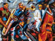 Trumpet Paintings - Jazz Unit by Debra Hurd