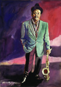 All-star Painting Prints - Jazzman Ben Webster Print by David Lloyd Glover