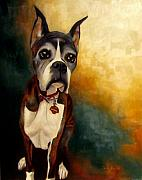 Boxer Puppy Paintings - Jazzy by Alison Schmidt Carson
