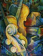 Greeting Cards Paintings - Jazzy Cello by Susanne Clark