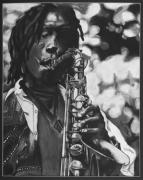 Saxophone Drawings - Jazzy by Chelsea VanHook