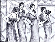 Fashion Plates Prints - Jazzy Ladies BW Print by Mel Thompson