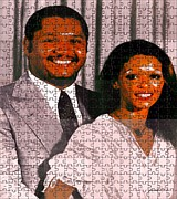 Michelle Mixed Media Posters - Jean Claude et Michelle Bennette Duvalier Poster by Fania Simon