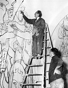 Jean Cocteau Art - Jean Cocteau Works On The Mural by Everett