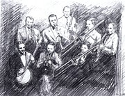 Big Bands Drawings - Jean Goldkette Orchestra 1926 by Mel Thompson