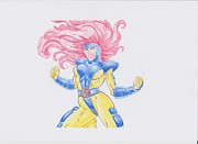 Thor Drawings Framed Prints - Jean Grey Framed Print by Toni Jaso