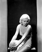 Harlow Framed Prints - Jean Harlow, 1932 Framed Print by Everett