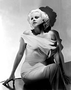 Off The Shoulder Framed Prints - Jean Harlow Framed Print by Everett