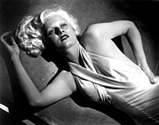 Satin Dress Posters - Jean Harlow, Fashion Still For Dinner Poster by Everett