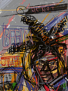 Celebrity Mixed Media Posters - Jean Michel Basquiat Poster by Russell Pierce