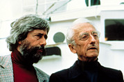 Jacques Framed Prints - Jean-michel Cousteau And Father Jacques Framed Print by Everett