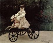 Full-length Portrait Painting Prints - Jean Monet on his Hobby Horse Print by Claude Monet