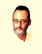 Star Pastels Metal Prints - Jean Reno Pastel Portrait Metal Print by Stefan Kuhn