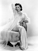 Negligee Prints - Jeanne Crain Posing In A Negligee, 1957 Print by Everett