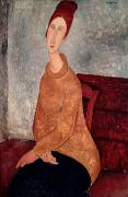 Jumper Framed Prints - Jeanne Hebuterne in a Yellow Jumper Framed Print by Amedeo Modigliani