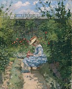 Camille Pissarro Framed Prints - Jeanne in the Garden Framed Print by Camille Pissarro