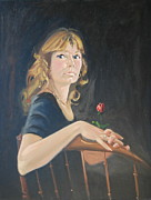 Woman In Black Dress Paintings - Jeanne by Len Stomski