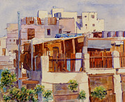 Arabia Painting Framed Prints - Jeddah Rooftops Framed Print by Dorothy Boyer
