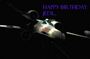 Jet Star Framed Prints - Jedi Birthday card Framed Print by Micah May