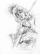Guitar Drawings Originals - Jeff Beck - Truth by David Lloyd Glover
