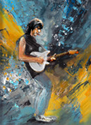 Guitars Painting Framed Prints - Jeff Beck 01 Framed Print by Miki De Goodaboom