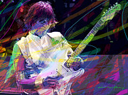 Jazz-stars Prints - Jeff Beck Bolero Print by David Lloyd Glover