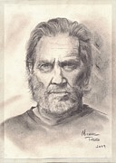 Jeff Drawings - Jeff Bridges by Mike Todd