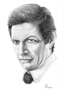 Celebrity Drawing Drawings Prints - Jeff Goldblum Print by Murphy Elliott
