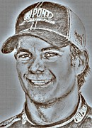 Owner Art Mixed Media Prints - Jeff Gordon in 2010 Print by J McCombie