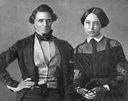 Confederate States Of America Posters - Jefferson Davis And Varina Howell Davis Poster by Photo Researchers