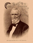 Civil War Drawings Posters - Jefferson Davis Vintage Advertisement Poster by War Is Hell Store