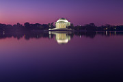 President Jefferson Framed Prints - Jefferson Memorial and Pond at Blue Light Framed Print by Val Black Russian Tourchin