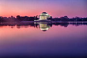 President Jefferson Posters - Jefferson Memorial and Pond at Pink Light Poster by Val Black Russian Tourchin