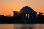 Silhouetted Posters - Jefferson Memorial at Sunrise Poster by Clarence Holmes