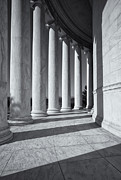 White Pillars Posters - Jefferson Memorial Columns and Shadows Poster by Clarence Holmes