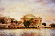 Cherry Blossoms Framed Prints - Jefferson Memorial Just Past Dawn Framed Print by Lois Bryan