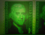 Stamps Digital Art - Jefferson Stamp by MattLaseter  BZRROindustries