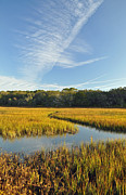 High Tide Prints - Jekyll Island Marsh High Tide and Sky Print by Bruce Gourley