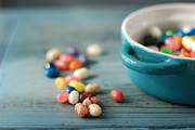 Edmonton Prints - Jelly Beans And Blue Dish Print by Shawna Lemay