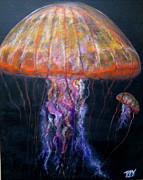 Jelly Fish Paintings - Jelly fish sea nettle by John Garland  Tyson