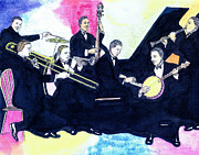 Big Bands Drawings - Jelly Roll and the Red Hot Peppers by Mel Thompson