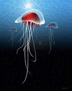 Image Of Jelly Fish Art - Jellyfish and Friends by Wayne Dion