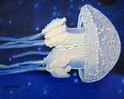 Jellyfish Drawings Framed Prints - Jellyfish Framed Print by Lisa Urankar