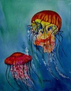 Jellyfish Paintings - Jellyfish by Maria Barry