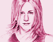Award Drawings Prints - Jennifer Aniston Print by Attila Dancsak
