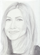 Graphite Metal Prints - Jennifer Aniston Metal Print by Jose Valeriano