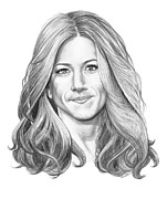 Famous People Drawings - Jennifer Aniston by Murphy Elliott