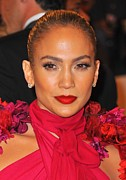 Hair Slicked Back Posters - Jennifer Lopez At Arrivals Poster by Everett